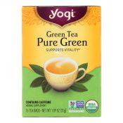 Yogi Organic Pure Green Herbal Tea – 16 Tea Bags – Case of 6 – 0355453