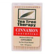Tea Tree Therapy Toothpicks Cinnamon – 100 Toothpicks – Case of 12 – 0745075