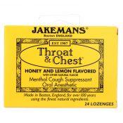 Jakemans Throat and Chest Lozenges – Honey and Lemon – 24 Pack – 0650424