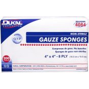 Dukal 8-Ply Non-Sterile Gauze Sponge 4″ x 4″ 200 Count Case Pack 20 – 1303794